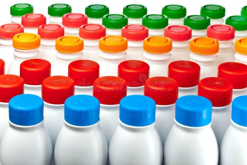 Yogurt bottles stock photos