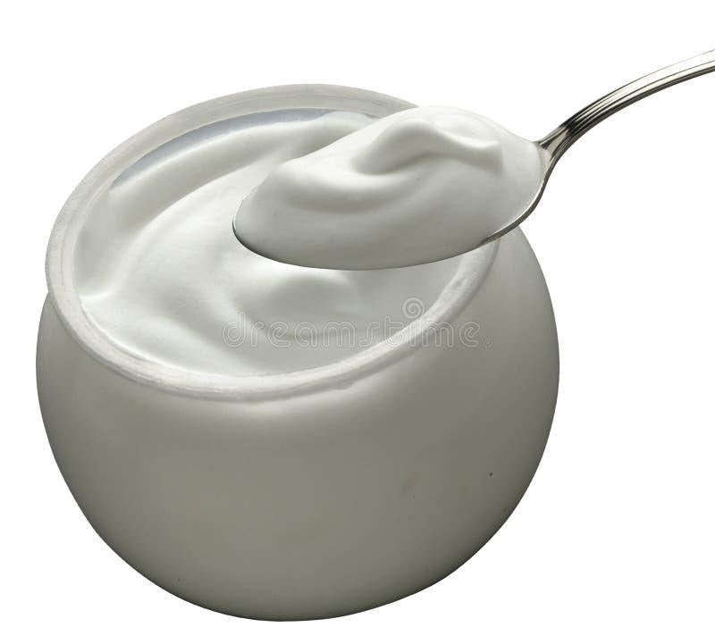 Yogurt branco fotografia de stock