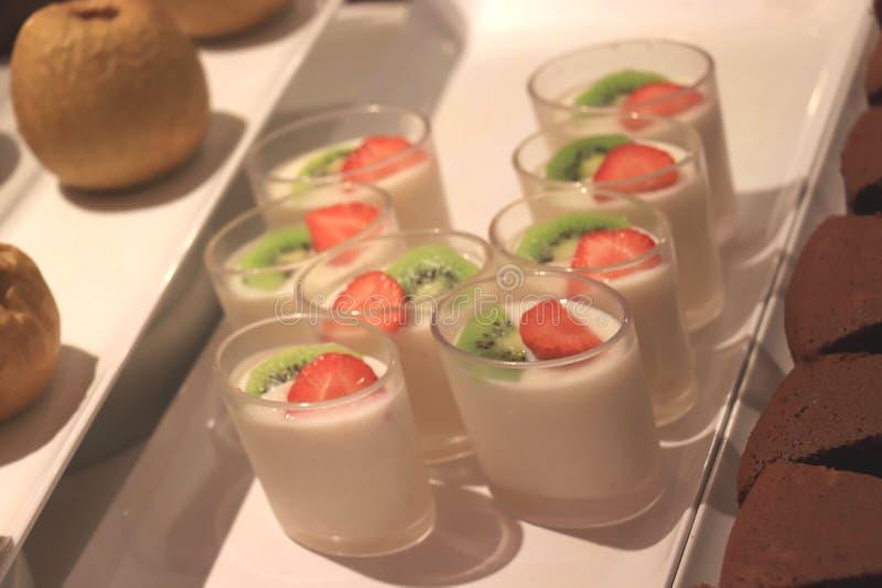 Yogurt at a buffet royalty free stock photography
