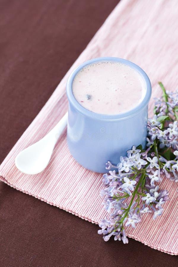 Yogurt casalingo in una ciotola ceramica su una tovaglia rosa, su un cucchiaio bianco e su un ramoscello del lillà immagini stock