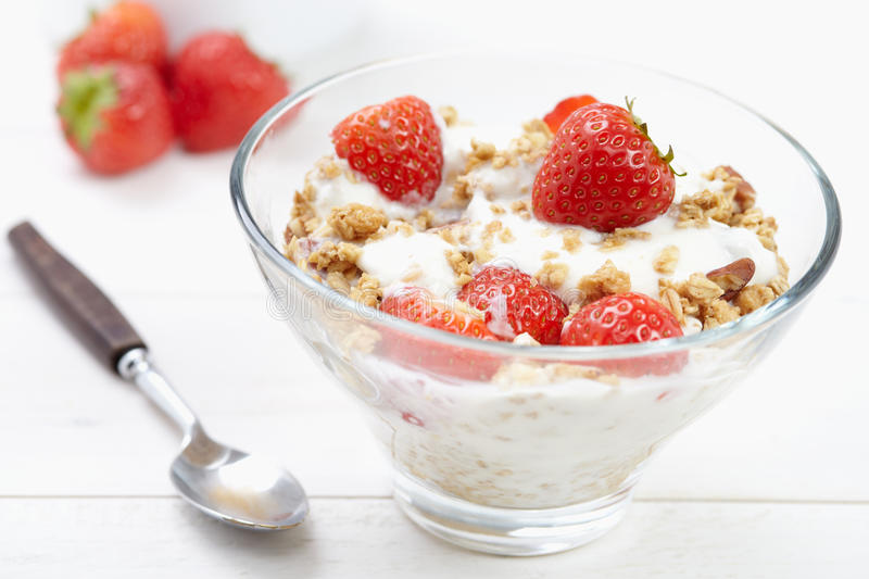 Yogurt and cereal royalty free stock photography
