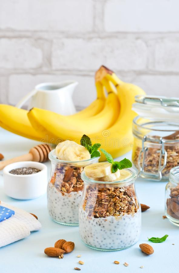 Yogurt with chia seeds, granola and banana for breakfast. stock images
