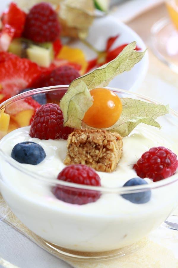 Yogurt com frutas foto de stock