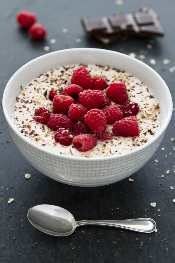 Yogurt con i lamponi freschi ed il cucchiaio d'argento immagine stock libera da diritti