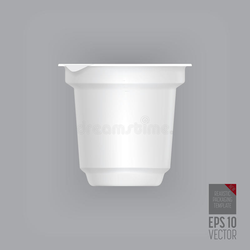 Yogurt container. On grey background. Blank box ice cream or dessert. Plastic container for liquid milk products. 3d realistic packaging. Vector illustration vector illustration