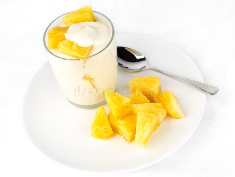 Yogurt dell'ananas con i bei pezzi dell'ananas fotografia stock libera da diritti