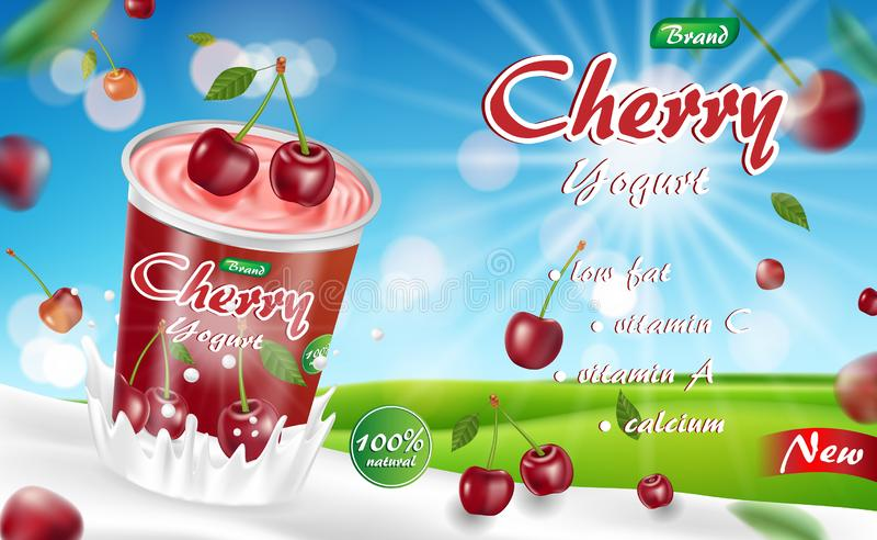 Yogurt della ciliegia con spruzzata isolata sul fondo del bokeh Annuncio crema del pacchetto dei prodotti del yogurt ciliegia mat royalty illustrazione gratis