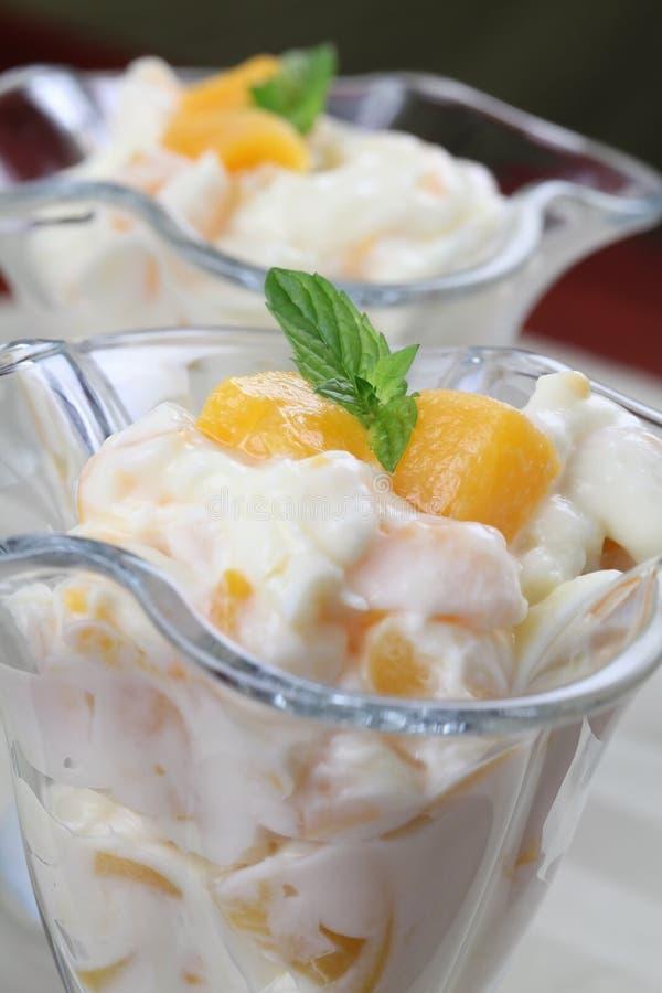 Yogurt dessert with peaches royalty free stock images