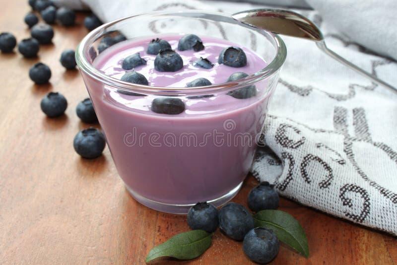 Yogurt di mirtillo con il percorso fotografia stock libera da diritti