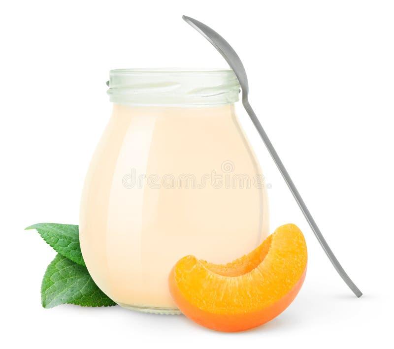 Yogurt do pêssego ou do alperce imagens de stock
