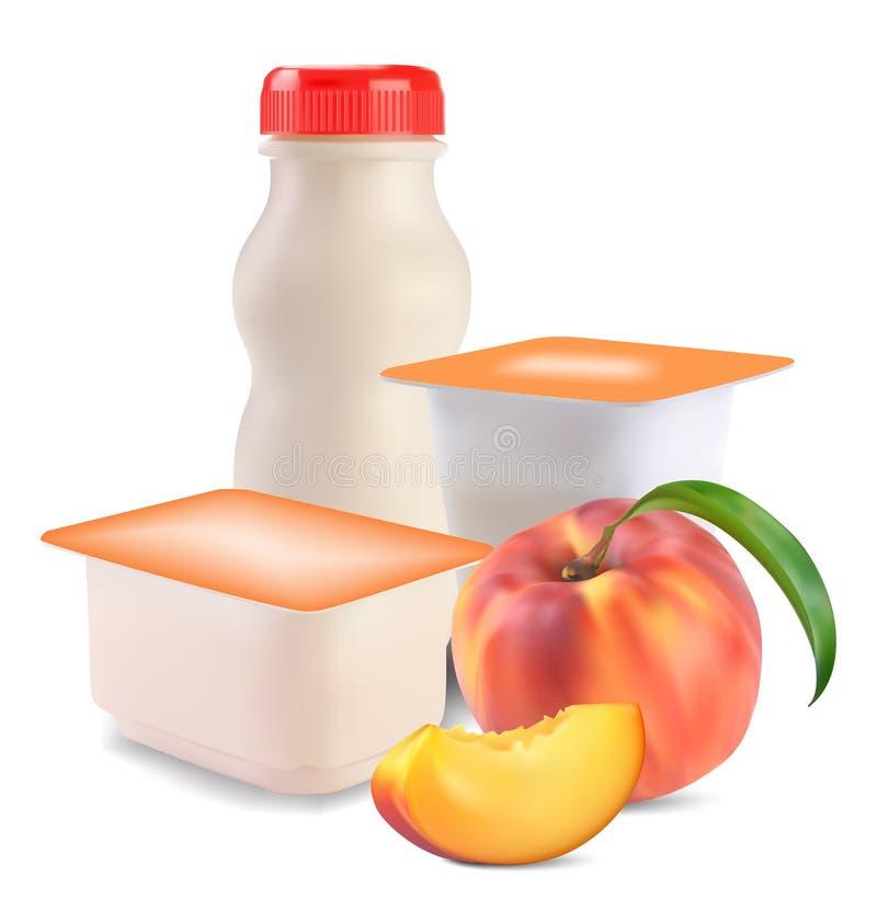Yogurt e pêssego ilustração stock