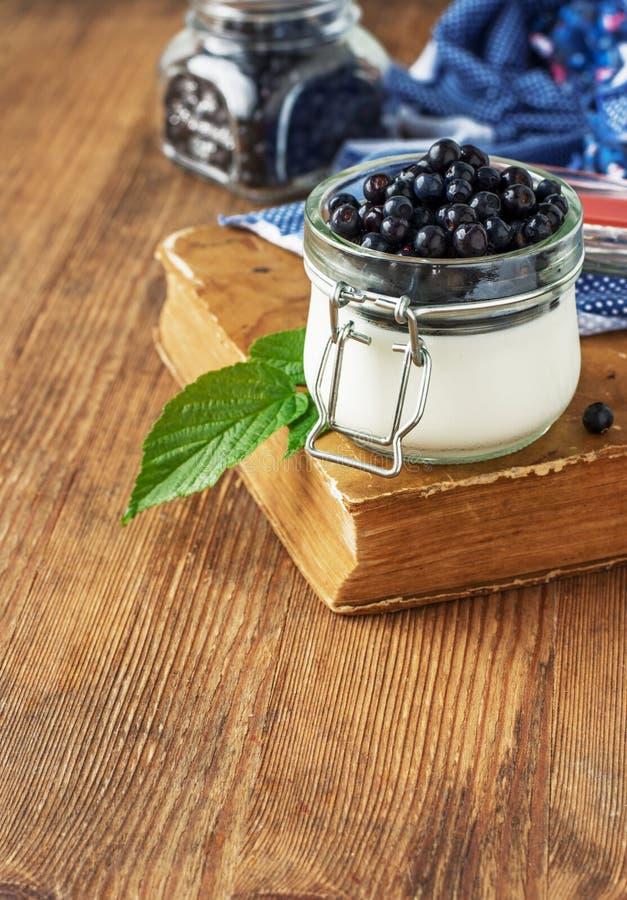 Yogurt fresco per la prima colazione con i mirtilli in a fotografia stock libera da diritti