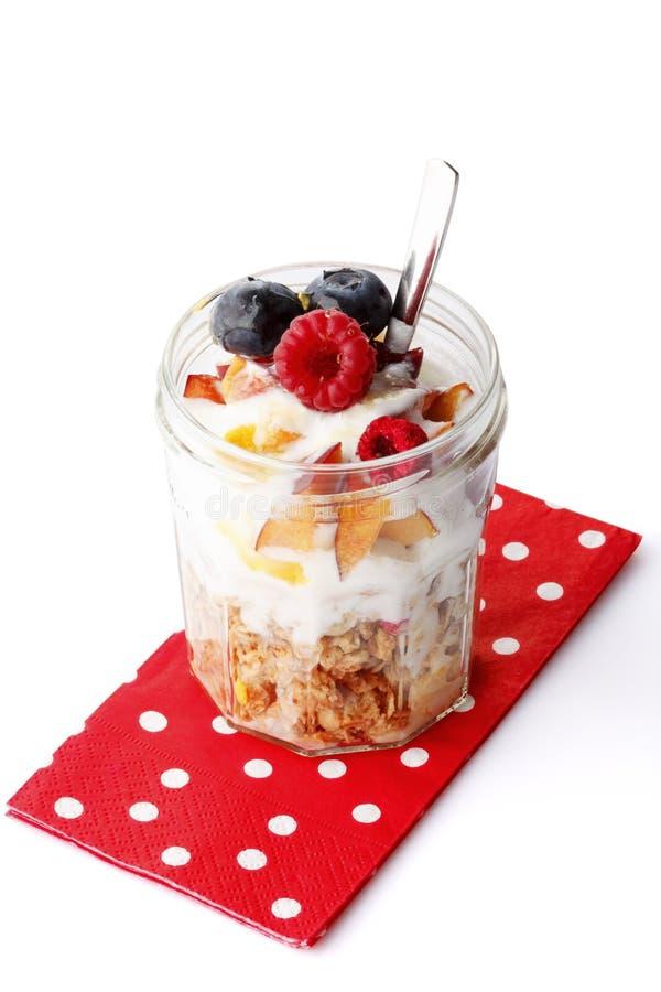 Yogurt with fresh Fruit and Granola stock image
