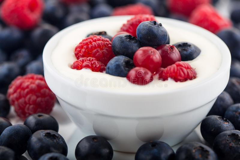 Yogurt and fruit royalty free stock photo