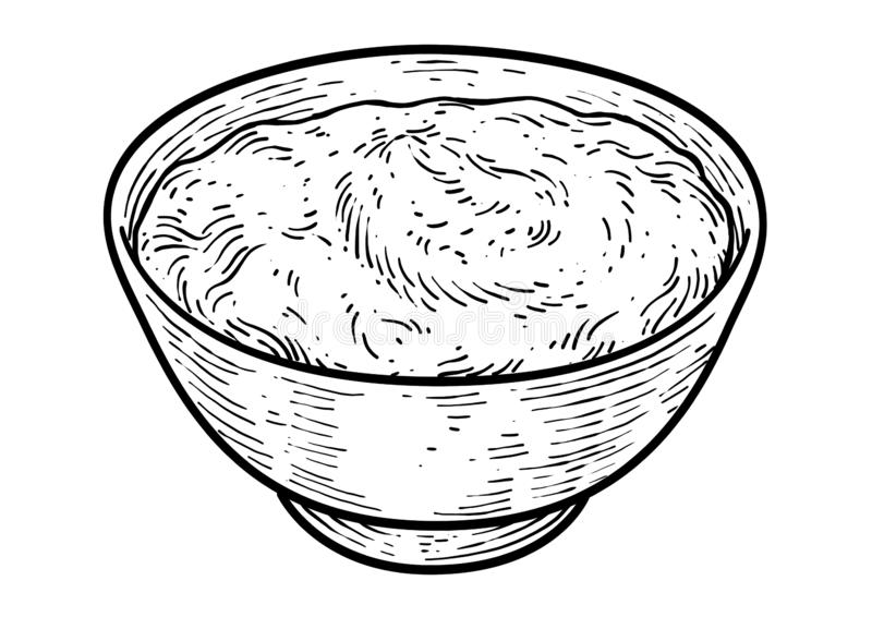 Yogurt illustration, drawing, engraving, ink, line art, vector royalty free illustration