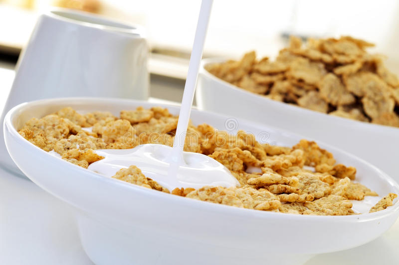 Yogurt and oatmeal cereals. Closeup of a bowl with yogurt and oatmeal cereals for breakfast on the kitchen table royalty free stock photo