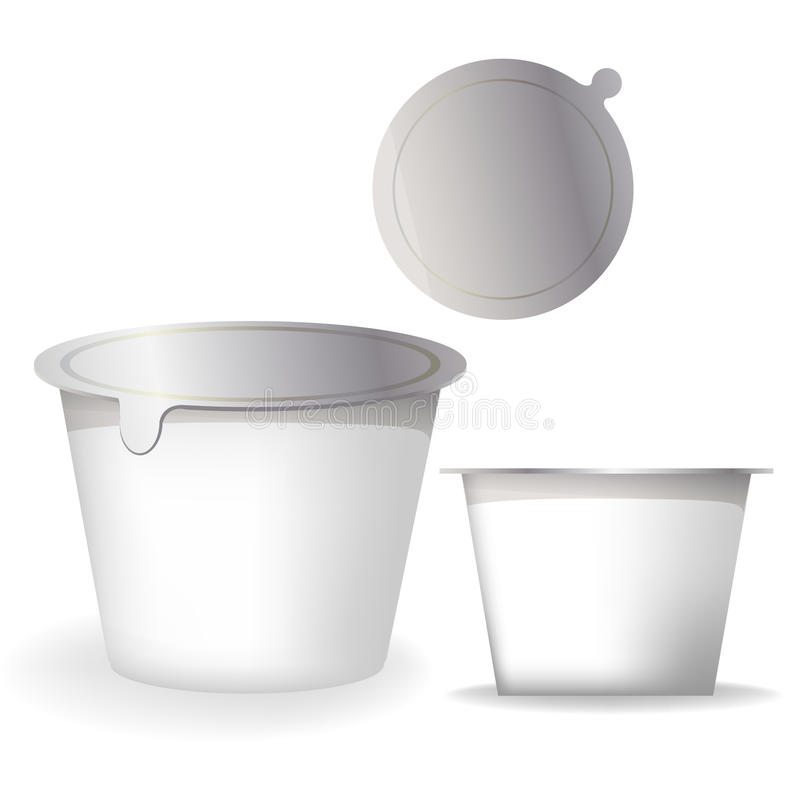 Yogurt packaging boxes royalty free illustration