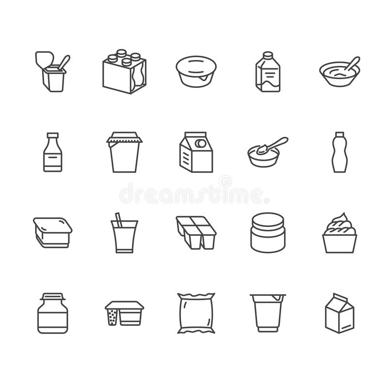 Yogurt packaging flat line icons. Dairy products - milk bottle, cream, kefir, cheese illustrations. Thin signs for food stock illustration
