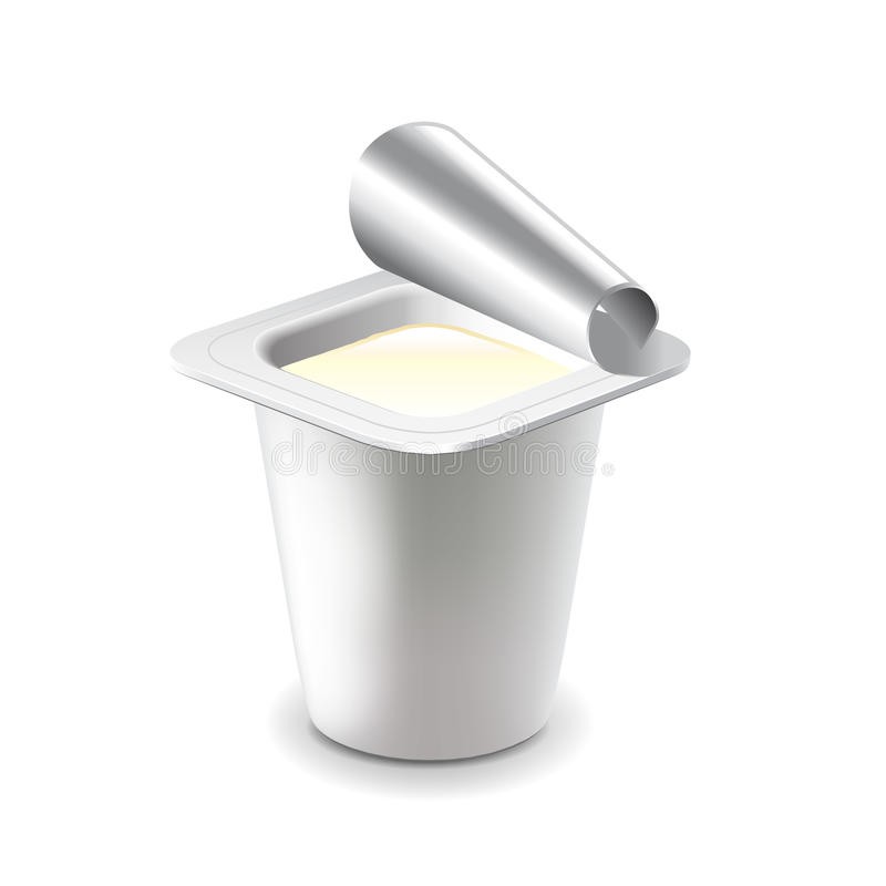 Yogurt in plastic cup on white vector vector illustration