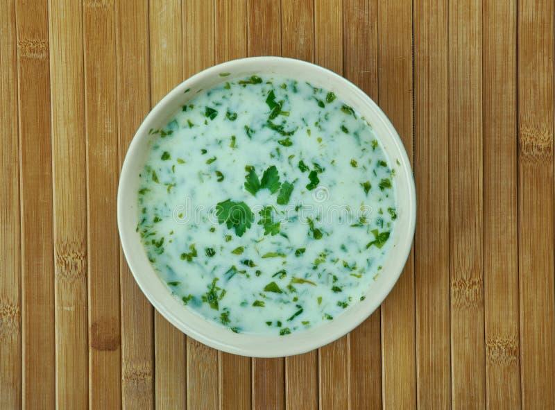 Yogurt soup. Ash-e doogh - yogurt soup from the Azeri-region of Northwest Iran royalty free stock photos