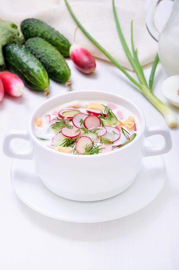 Yogurt soup. On white table stock photos