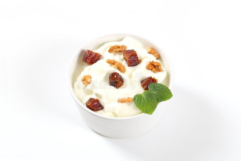 Download Yogurt With Walnuts And Dates Stock Photo - Image: 83706383