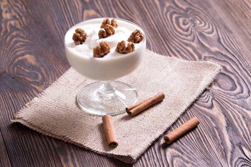 Yogurt with walnuts. royalty free stock photography