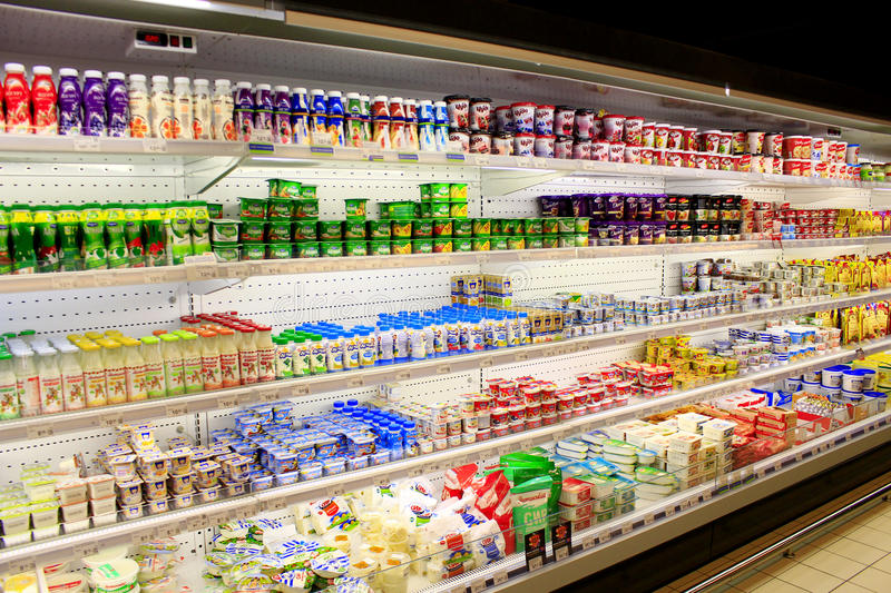 Yogurts milk and others dairy produce in the shop. Chernihiv / Ukraine. 06 March 2016: yogurts milk and others dairy produce on the shelves of shop. 06 March royalty free stock photos