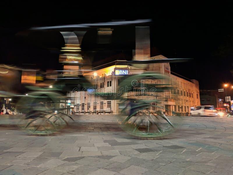 Yogyakarta, Ινδονησία - 26 Μαρτίου 2019: στο σημείο μηδέν χιλιόμετρα της πόλης Yogyakarta στη νύχτα στοκ εικόνα με δικαίωμα ελεύθερης χρήσης