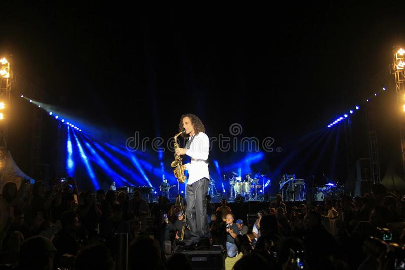Appearance of a distinctive hair style musician from Seattle United States Kenny G. Yogyakarta, Indonesia, 10/16/2015. Appearance of a distinctive hair style royalty free stock photos