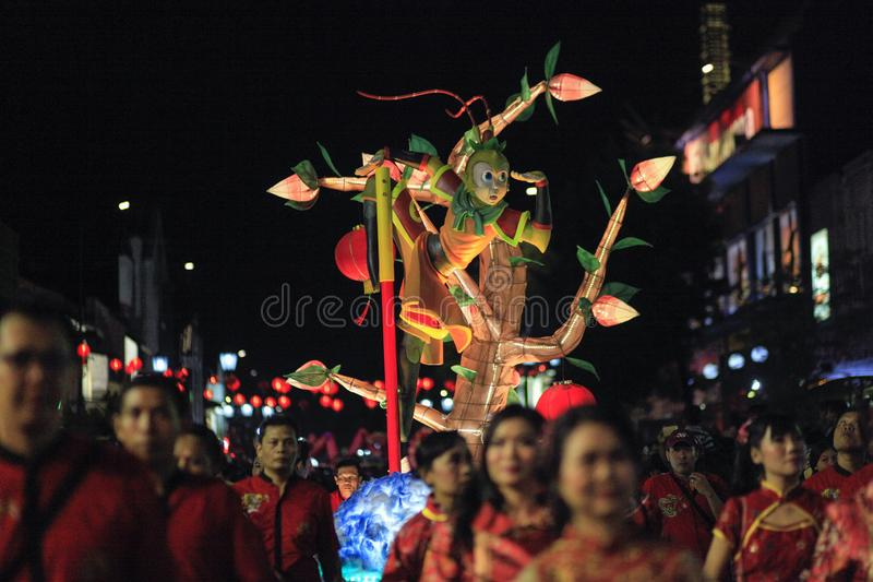 Replica statue figure of Sun Go Kong. Yogyakarta, Indonesia, 02/21/2016. The replica statue of the figure of Sun Go Kong also enlivened the carnival of royalty free stock photo