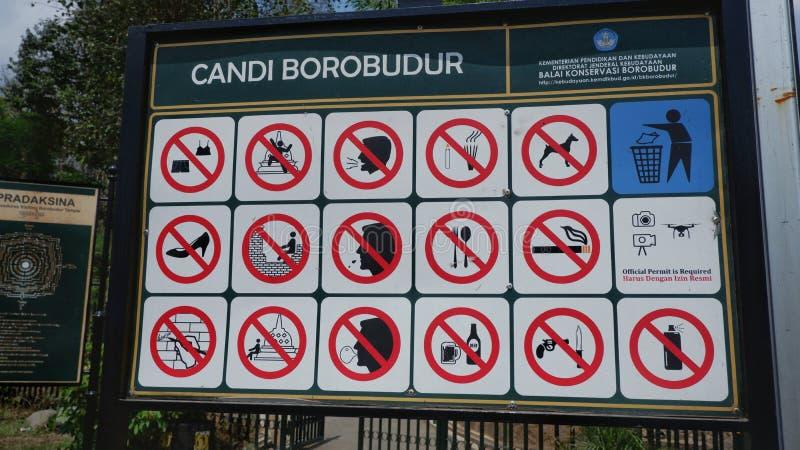 Yogyakarta, Indonesia - Sep 28, 2019.The prohibition that tourists bring to Borobudur.  stock image