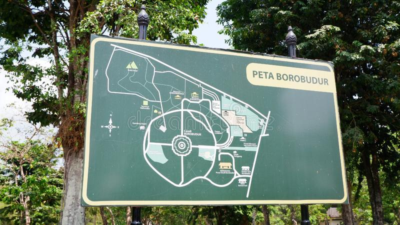 Yogyakarta, Indonesia - Sep 28, 2019. Tourist information map of Borobudur Temple in Yogyakarta, Indonesia. Yogyakarta, Indonesia - Sep 28, 2019. Tourist royalty free stock images