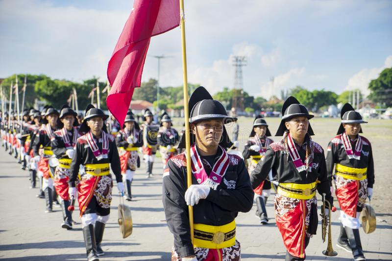 Yogyakarta palace troops in a festival royalty free stock image