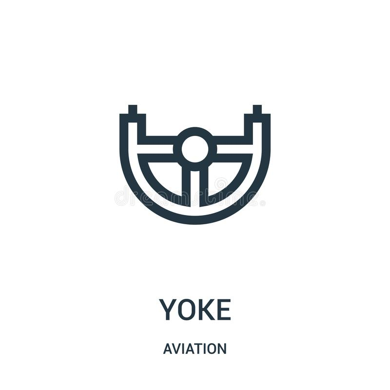 Yoke icon vector from aviation collection. Thin line yoke outline icon vector illustration. Linear symbol for use on web and. Mobile apps, logo, print media royalty free illustration