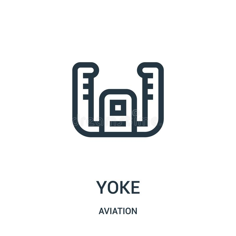 Yoke icon vector from aviation collection. Thin line yoke outline icon vector illustration. Linear symbol for use on web and. Mobile apps, logo, print media stock illustration