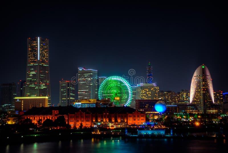 Yokohama τη νύχτα από την αποβάθρα Osahnbashi στοκ φωτογραφία με δικαίωμα ελεύθερης χρήσης