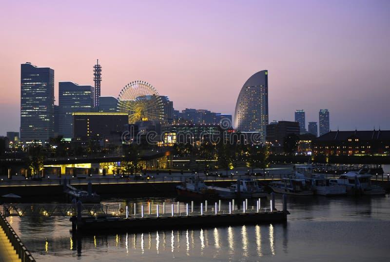 Yokohama. Evening photo of Yokohama downtown reflcting in the bay. Japan royalty free stock photo