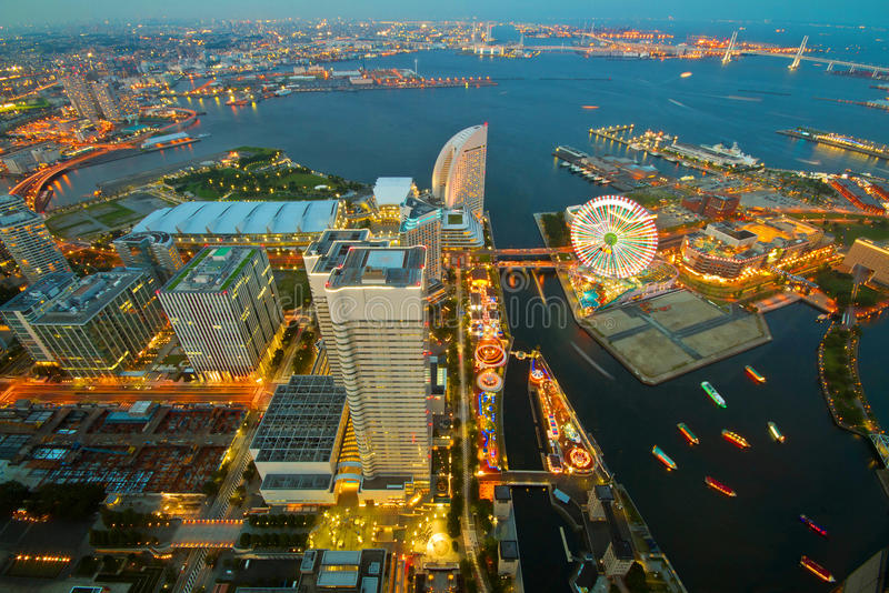 Yokohama. Night view from the top floor of Landmark Tower to see the  city and a beautiful blue tower at night stock images