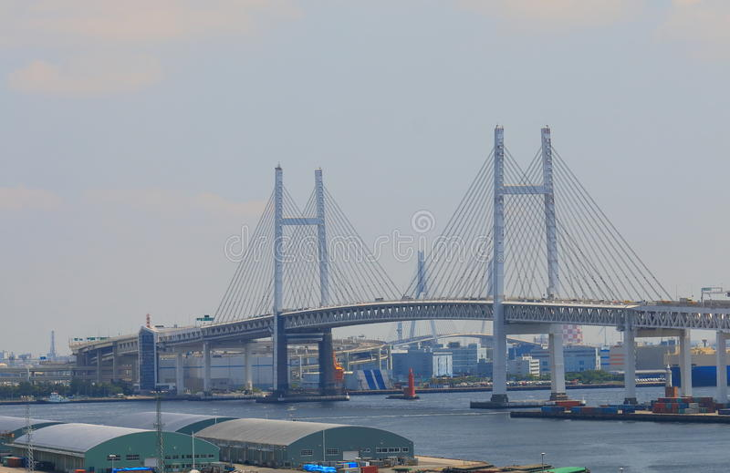 Yokohama Bay bridge cityscape Japan stock images