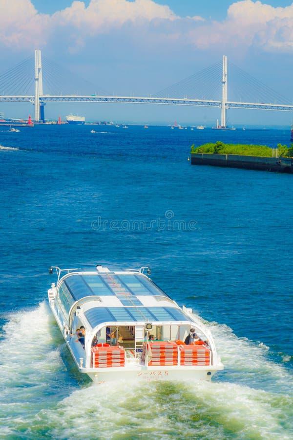 Yokohama Bay Bridge and the summer sky and sea bass. Shooting location :Yokohama-city kanagawa prefecture stock images