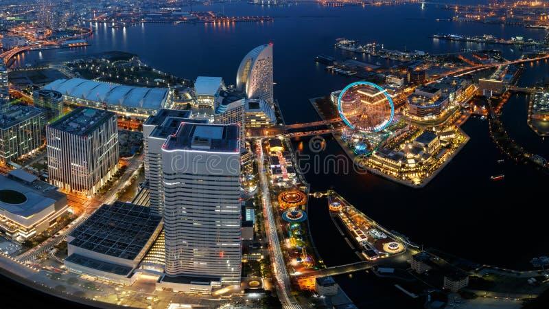 Yokohama. Bay cityscape at twilight stock photo