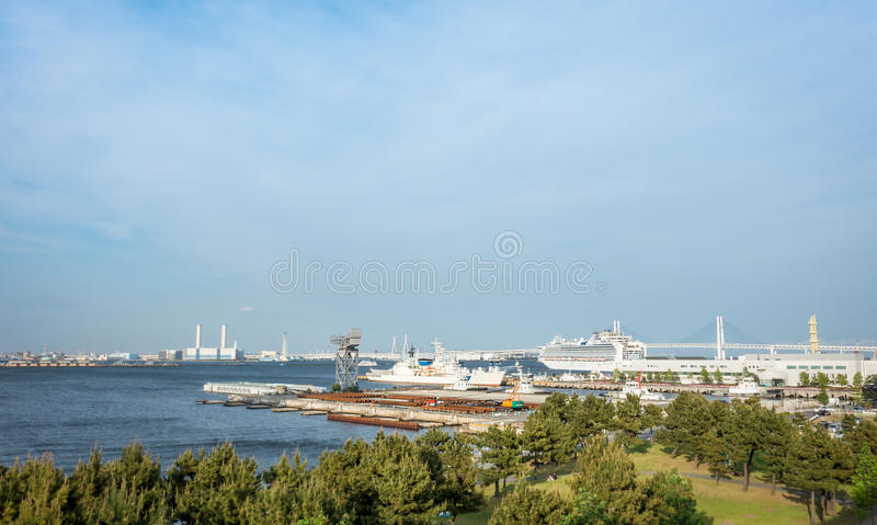 Yokohama Bay War Ship and passenger ship. royalty free stock images