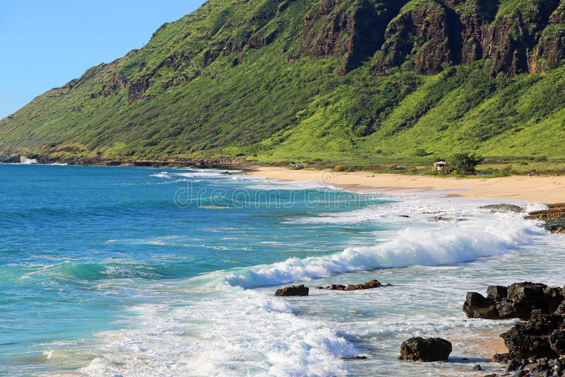 Yokohama Beach. View at the Yokohama Beach in Ka'ena Point State Park in west Oahu, Hawaii royalty free stock images
