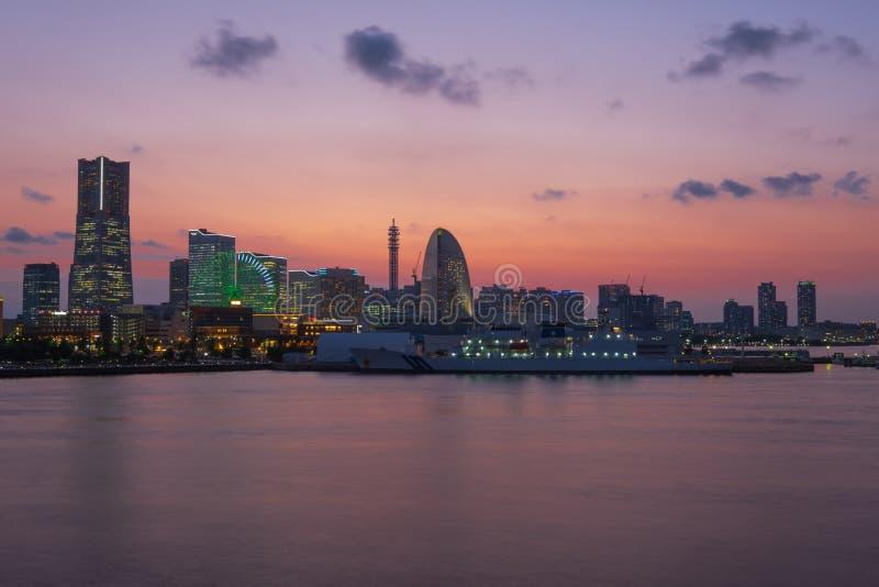 Yokohama. City in Japan at night royalty free stock image