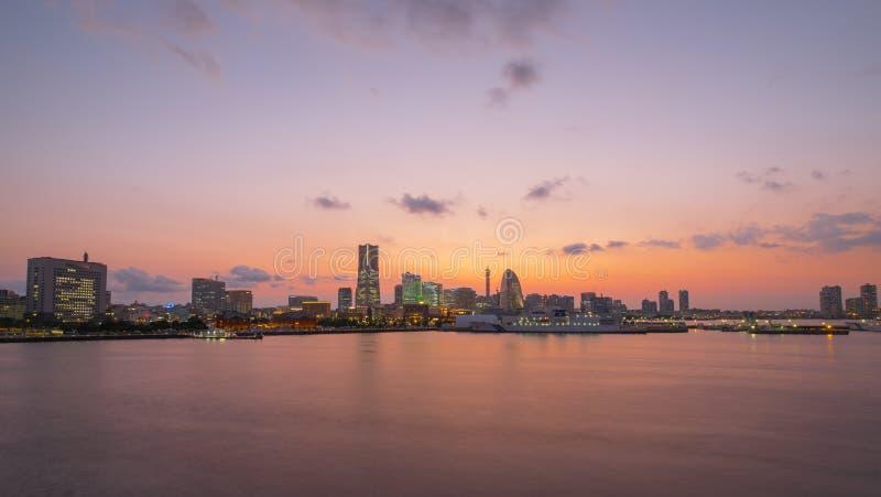 Yokohama. City in Japan at twilight royalty free stock photography