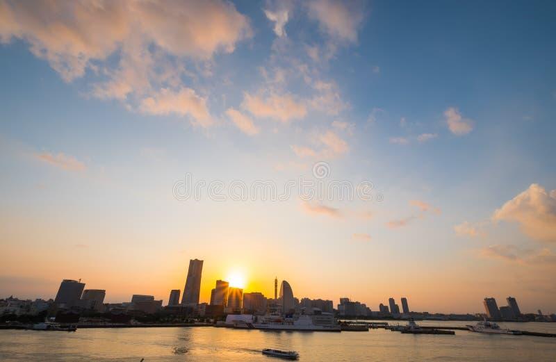 Yokohama. City in Japan at twilight stock image