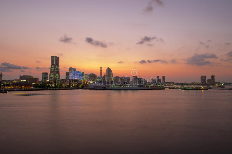 Yokohama. City in Japan at twilight stock images