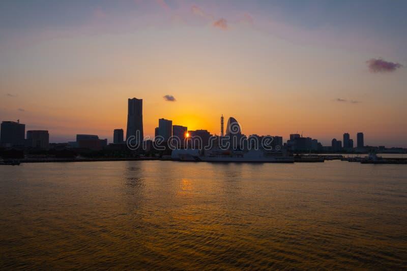Yokohama. City in Japan at twilight royalty free stock image