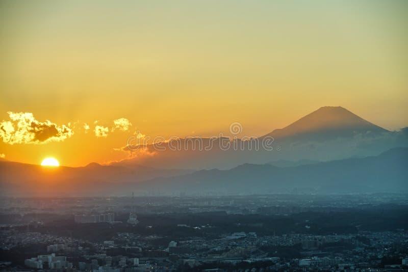 Yokohama city and Mount Fuji and dusk royalty free stock photos